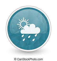 Rain brillant crystal design round blue web icon.