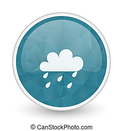 Rain brillant crystal design round blue web icon.