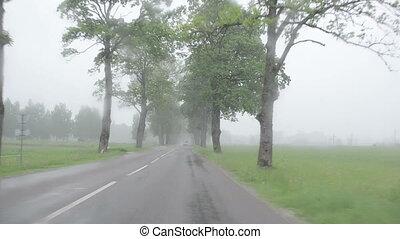 rain car windscreen - Strong rain falling on windscreen and...