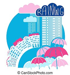 Rain city background with clouds and umbrellas.Vector color flat style