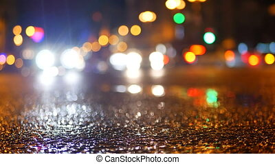 Rain city traffic streets - Defocus night view of holiday...