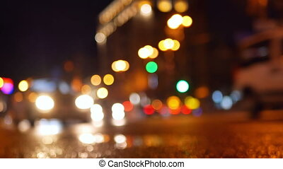 Rain city traffic streets - Defocus night view of holiday...