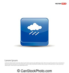 Rain Cloud Icon - 3d Blue Button