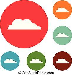 Rain cloud icons circle set vector