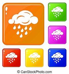 Rain cloud icons set color