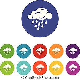 Rain cloud icons set vector color