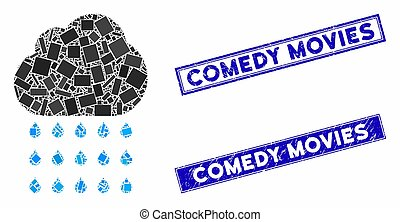Rain Cloud Mosaic and Distress Rectangle Comedy Movies Stamp Seals