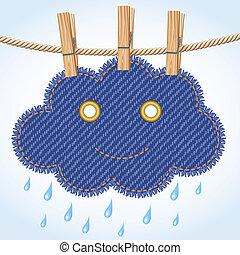 Rain cloud on a clothesline
