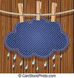 Rain cloud on a clothesline - Jeans rain cloud hanging on a...