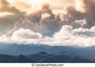 rain cloud on mountain in evening.