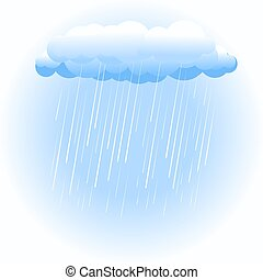 Rain cloud on white - Rain cloud raining on white