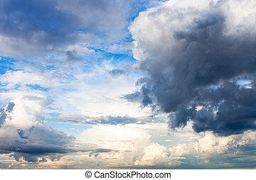 rain clouds block the sun in blue sky