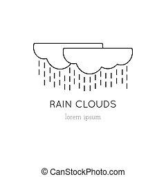Rain clouds line icon