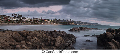 Rain clouds over Crescent Bay