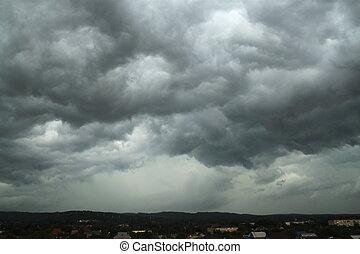 Rain, clouds, over, plateau,