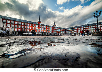 Rain clouds over Plaza Mayor in Madrid