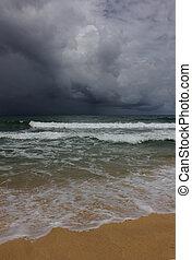 Rain clouds over the horizon at sea