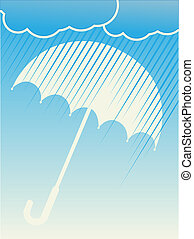 Rain Clouds Umbrella Blue Vector Background