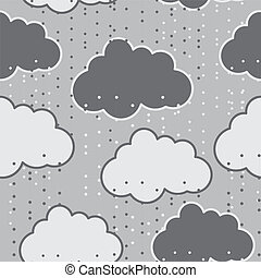 Rain clouds vector seamless background abstract