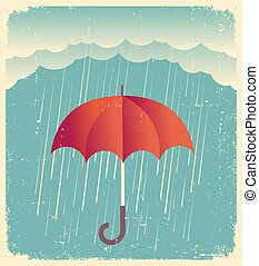 Rain clouds with red umbrella. Vintage poster on old paper