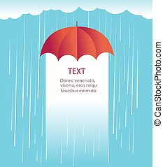 Rain clouds with red umbrella.Protects against rain illustration