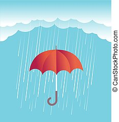 Rain clouds with red umbrella.Vector spring sky - Rain cloud...