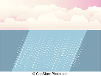 Rain clouds.Vector nature illustration background with rain...
