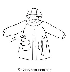 Rain coat with hood isolated on white. outline drawing