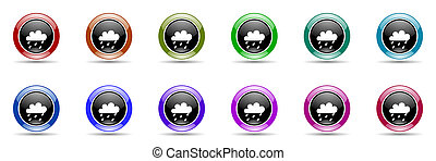 rain colorful round web icon set