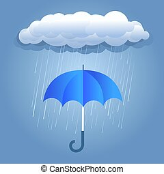 Rain dark clouds with umbrella