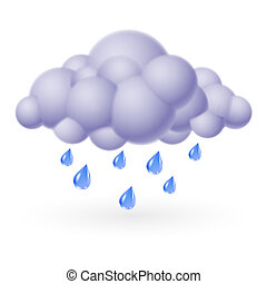 Rain - Single weather icon - Bubble Cloud with Rain