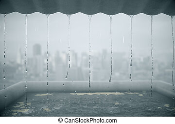 Rain dripping from roof on blurry city background. 3D...
