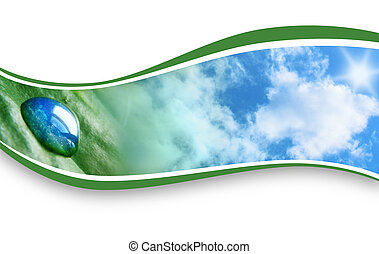 Rain Drop Nature Background Wave - A Water drop is on a leaf...