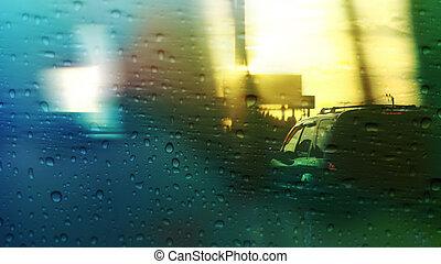 Rain drop on the car glass background.