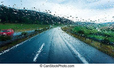 Rain droplets on car windshield .