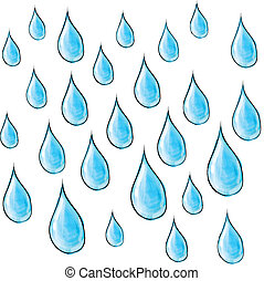 Rain drops. - Color sketch doodle style. Eps 10 vector...