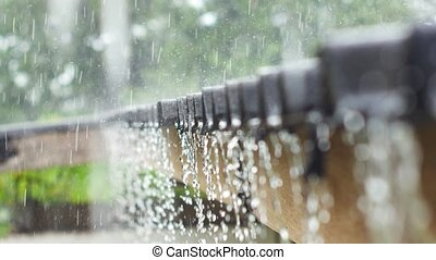 Rain drops fall continuously from a roof in the rainy...