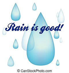 Rain drops image blue in vector with gradient mesh
