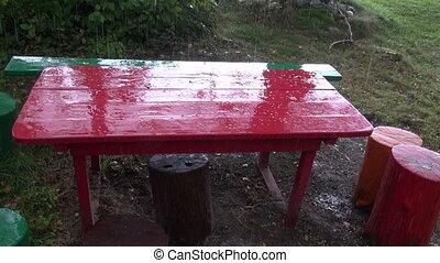 rain drops on garden red table