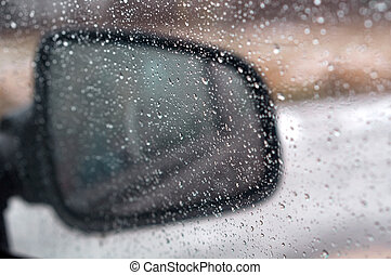 rain drops on glass, water drops on car glass