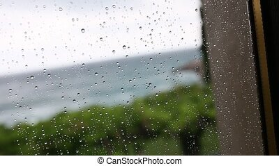 Rain drops on the glass. Texture of water