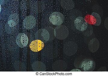 Rain drops on the window, and defocused city lights