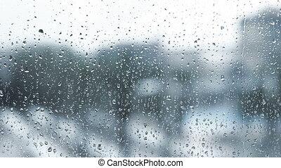Rain drops on window.