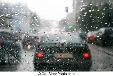 Rain drops on windshield at sity street