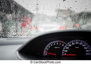 Rain drops on windshield car