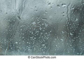 rain drops on windshield glass