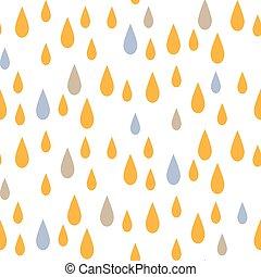 Rain drops seamless vector pattern.