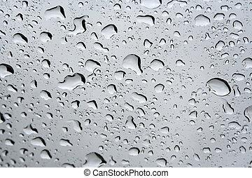 Rain drops on a window.
