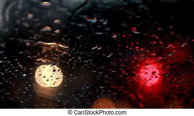 Rain drops with bokeh effect