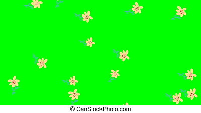 Rain Effects. doodle flowers, botanical background, on green background decorative, abstract leaves pattern animation. video. Cover design. stock footage 4k,